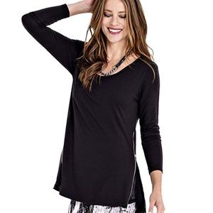 Lysse black long sleeve with zipper sides top